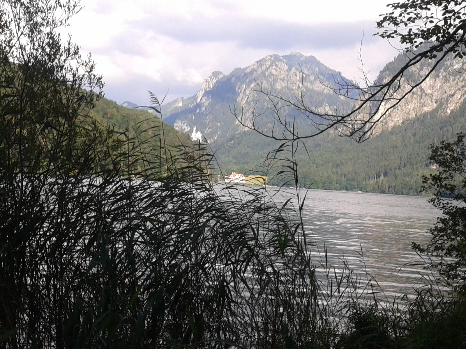 view over Alpsee lake towards Neuschwanstein castle
