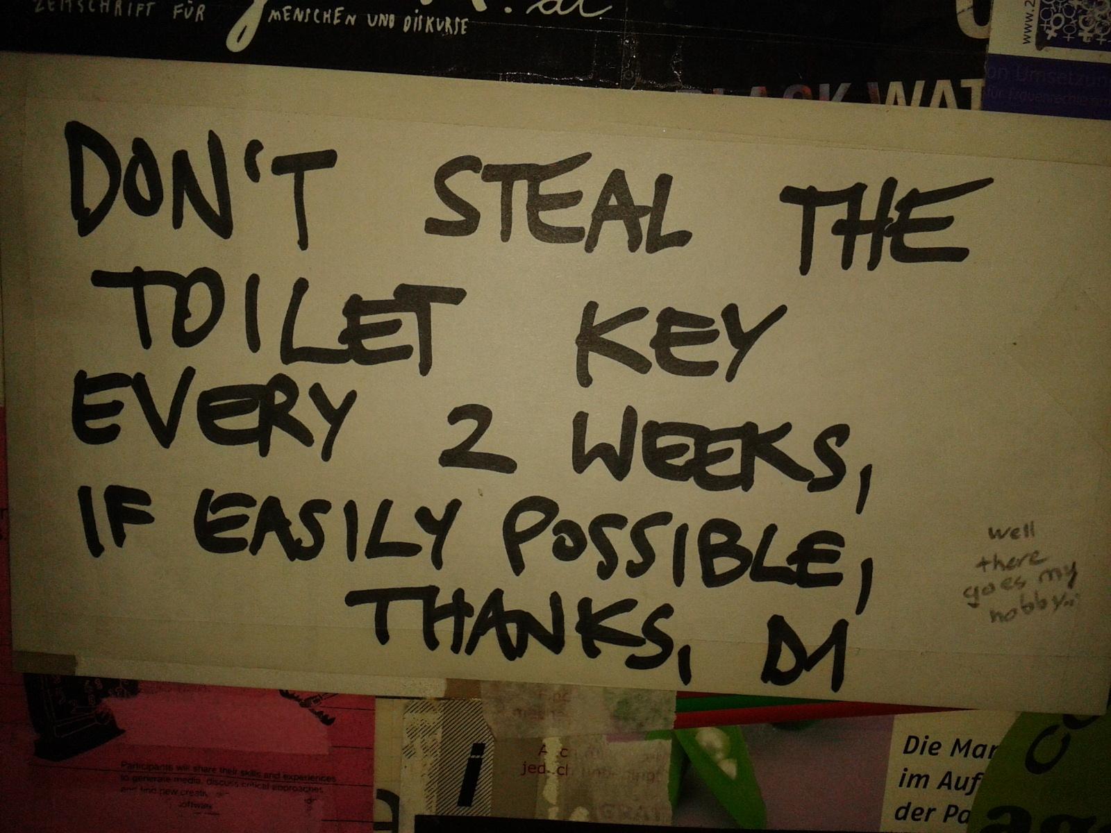 sign on the toilet door at Deewand (pakistani restaurant)