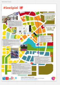 a screenshot of a narrative poster that uses the map of Seestadt as background and layout